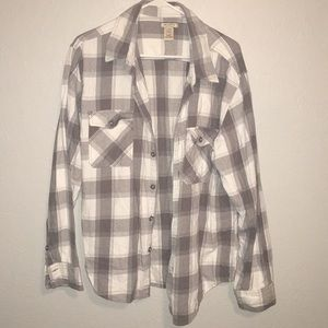 Gray and White Burton Up Flannel